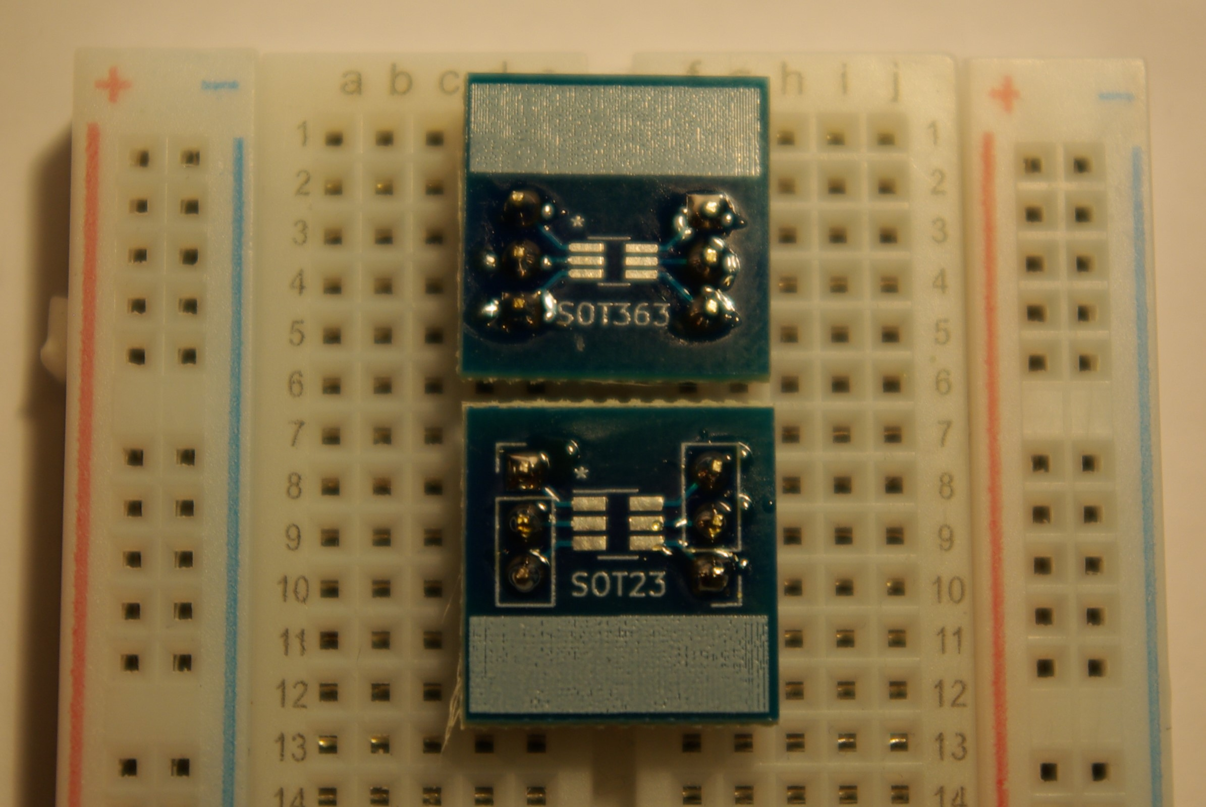 SOT363/SOT23 Breakout Boards in breadboard